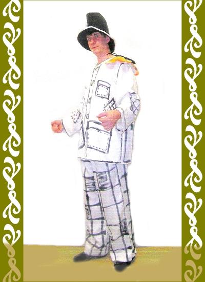 kostým bílý klaun, půjčovna karnevalových kostýmů Praha Ladana