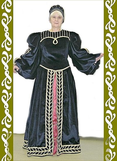 kostým renesance černá, půjčovna Ladana