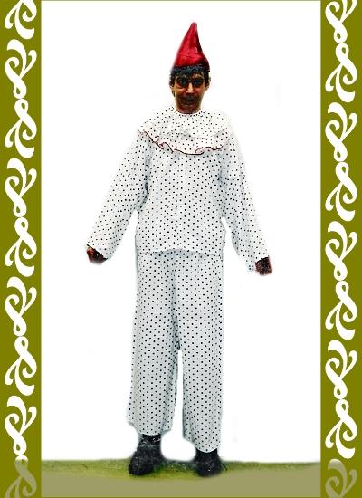 kostým šaška, půjčovna karnevalových kostýmů Ladana