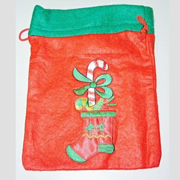 punčocha červená s zeleným lemem Mikuláš, Ladana